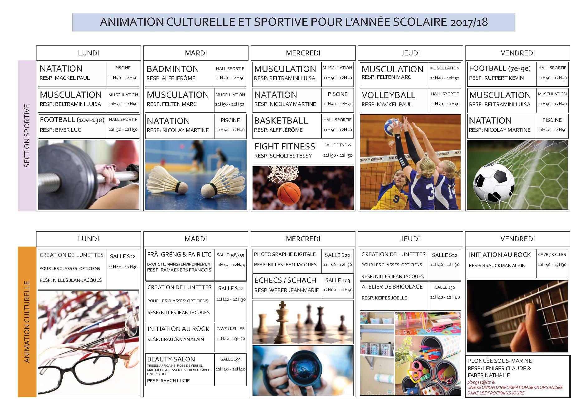 Relativ Animation culturelle et sportive - Lycée technique du Centre TC53